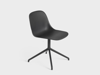 Fiber Side Chair Swivel Base Black/Black