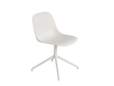 Fiber Side Swivel Base Chair With Return - Non Upholstered Natural White / White