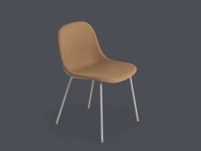 Fiber Side Chair Tube Base - Upholstered B0304 - Elmosoft 13060 grey/brown