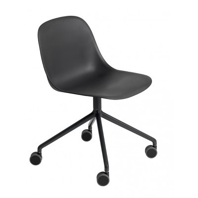 Fiber Side Chair/Swivel With Castors Non-Upholstered Seat Ochre/Polished Aluminium