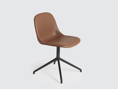 Fiber Side Swivel Base Chair With Return - Upholstered B0304 - Elmosoft 13060 grey/brown