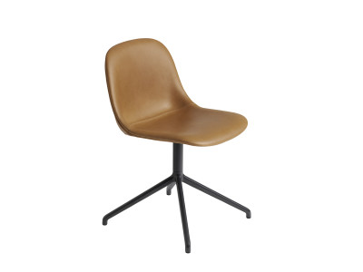Fiber Side Swivel Chair Without Return - Upholstered Silk Leather - Cognac/Black