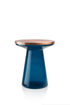 Figure Side Table Blue & Copper