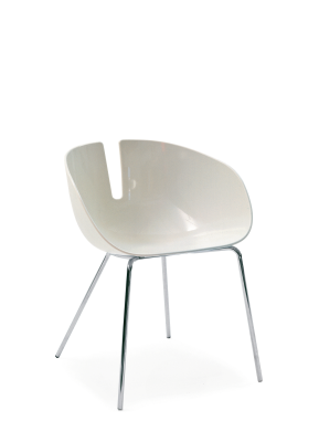 Fjord H. Dining Chair White/Black, Stainless steel satin