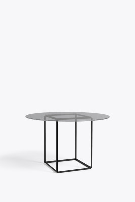 Florence Dining Table Iron Black with Smoked Glass