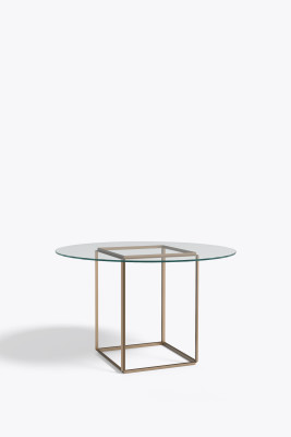 Florence Dining Table Raw Gold with Clear Glass
