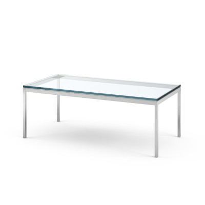 Florence Knoll Rectangular Table 114Wx57Dx43H, Clear Glass Top