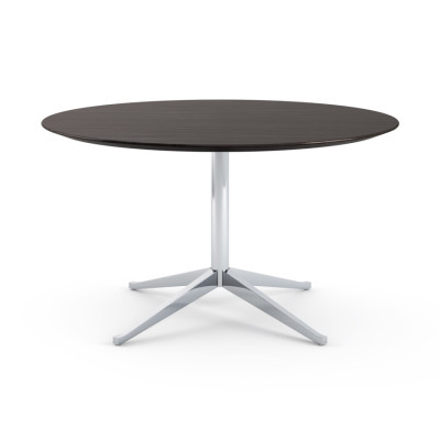Florence Knoll Table Desk - 71x137 Ebonized Oak Top, Polished Chrome Base
