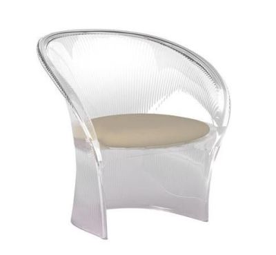 Flower Chair Clear with Black Cushion
