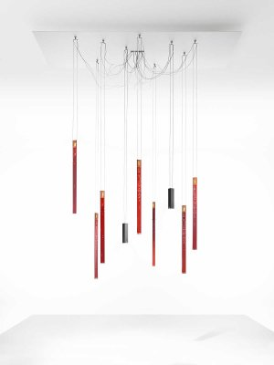 Flying Flame Chandelier Red, Large