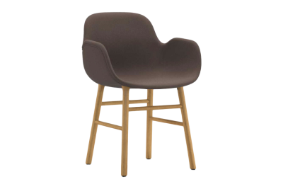 Form Armchair - Fully Upholstered Sørensen Ultra Leather Black Brown - 41590, NC Grey Lacquered Steel