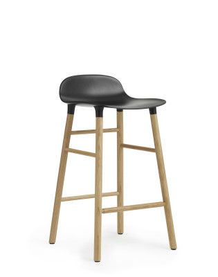 Form Bar Stool Black & Oak - 65cm seat