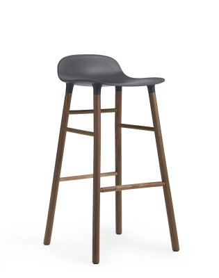 Form Bar Stool Blue & Walnut - 75cm seat