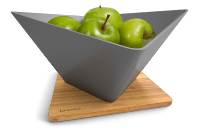 Forminimal Draining Fruit Bowl + Mat Grey
