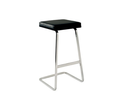 Four Seasons Barstool - VP black leather Polished Chrome