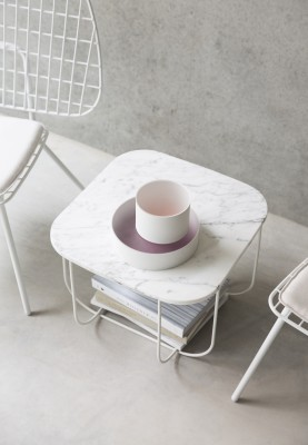 Fuwl Cage Side Table White/White Marble
