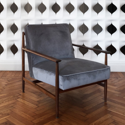 Gaia Armchair Walnut Frame with Grey fabric