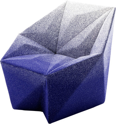 Gemma Armchair by Daniel Libeskind for Moroso, upholstered in Blur - blue