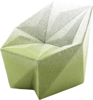 Gemma Armchair by Daniel Libeskind for Moroso, upholstered in Blur - green