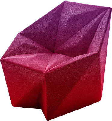 Gemma Armchair by Daniel Libeskind for Moroso, upholstered in Blur - red and purple