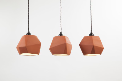 Geometric Terracotta Pendant Set of three (inside glazed)