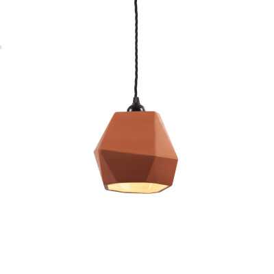 Geometric Terracotta Pendant Shade (inside glazed)
