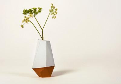 Geometric Vase Half-glazed