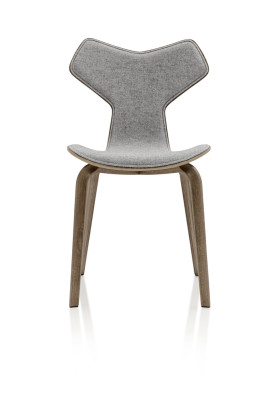 Grand Prix Wooden Chair - front upholstered Natural Veneer Walnut 80, Hallingdal 65 126