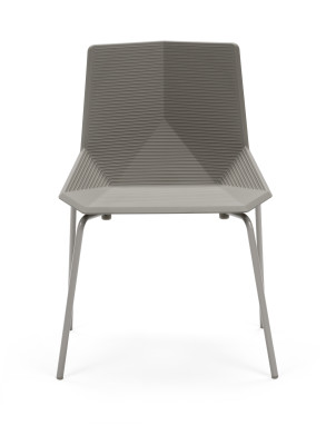 Green Eco Metal Dining Chair Gris Beige Seat