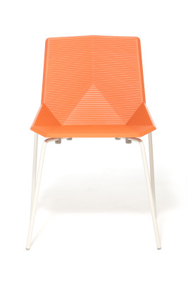Green Eco Metal Dining Chair Orange Seat