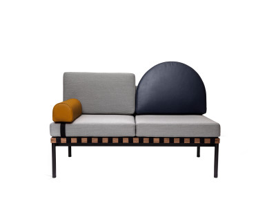 Grid Round Back 2 Seater Sofa With Right Armrest Steelcut Trio 2 144, Dark blue leather, Mustard leather