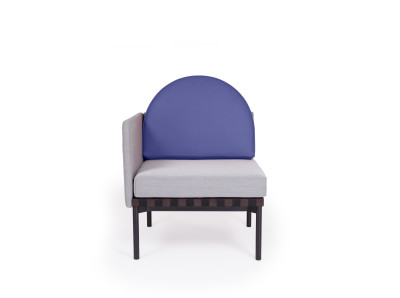 Grid Round Back Left Corner Armchair Steelcut Trio 2 144, Blue leather
