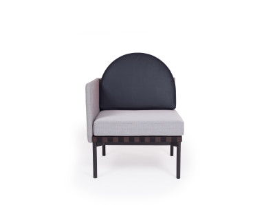 Grid Round Back Left Corner Armchair Steelcut Trio 2 413, Dark blue leather