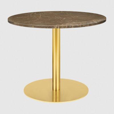 Gubi 1.0 Round Lounge Table Ø80, Gubi Metal Brass, Gubi Marble Marrone Emperador