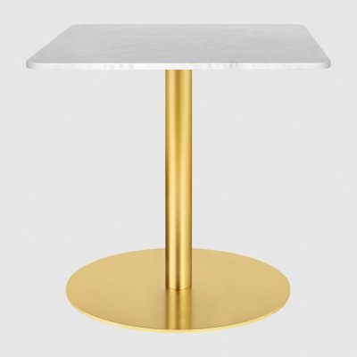 Gubi 1.0 Square Lounge Table 80 x 80, Gubi Metal Brass, Gubi Marble Marrone Emperador