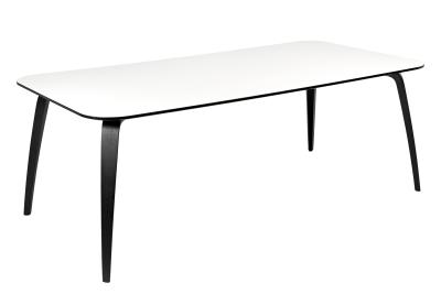 Gubi Rectangular Dining Table White Laminate Top and Black Ash Legs