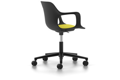 HAL Armchair Studio with Seat Upholstery 01 basic dark, 02 castors hard - braked for carpet, Hopsak 71 yellow/pastel green