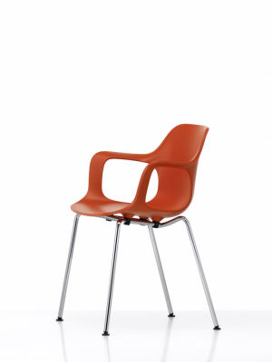 HAL Armchair Tube Stackable, Without Seat Upholstery 65 orange, 30 basic dark, 05 felt glides for hard floor