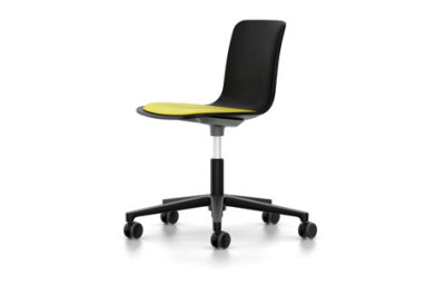HAL Studio With Seat Upholstery 01 basic dark, 02 castors hard - braked for carpet, Hopsak 71 yellow/pastel green