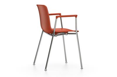 HAL Tube Armrest Chair 65 orange, 04 white, 04 glides for carpet