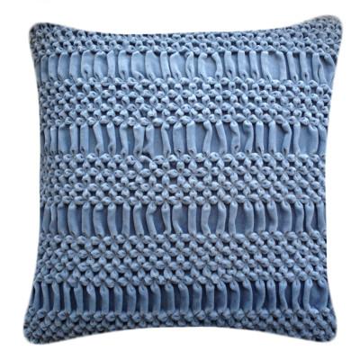 Hand Smocked Striped Flower Signature Cushion Blue 50x50cm