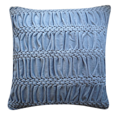 Hand Stitched Striped Wave Signature Cushion Blue