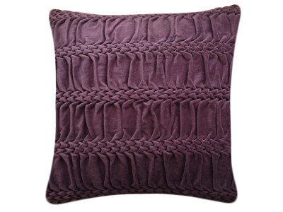 Hand Stitched Striped Wave Signature Cushion Eggplant