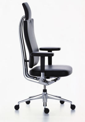 HeadLine Management Chair Leather 66 nero, 02 castors hard - braked for carpet, Adjustable Standard - 400 N