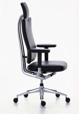 HeadLine Management Chair Leather 66 nero, 02 castors hard - braked for carpet, Adjustable Standard - 400 N