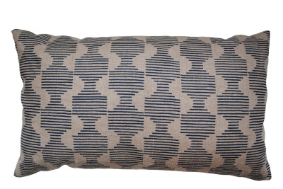 Hoof Rectangular Cushion Dark Blue and Beige