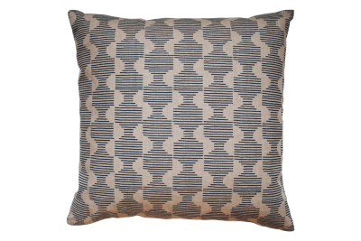 Hoof Square Cushion Dark Blue and Beige