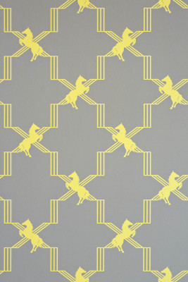 Horse Trellis Wallpaper Acid on Grey