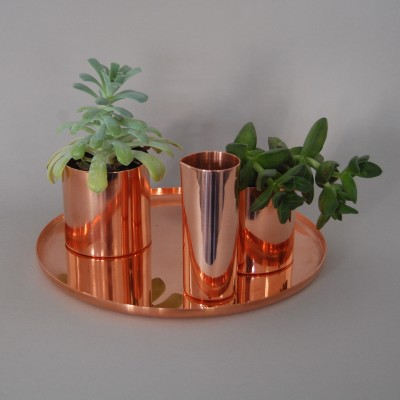 Houseplant Vessel Set  Polished Copper