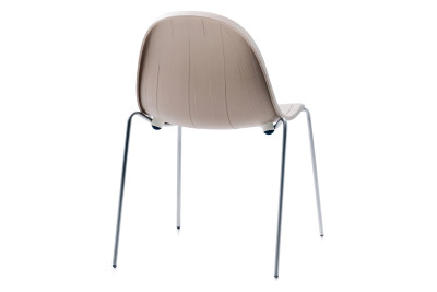 Impossible Wood Dining Chair Clay Grey Shell, White Matt Base